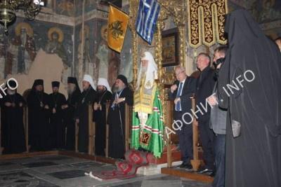 Патриарх Кирилл в Протатском храме, май 2016