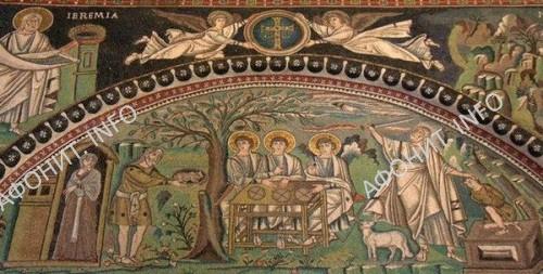 «Гостеприимство Авраама». Мозаика равеннского храма Сан-Витале (1-я пол. VI в.)