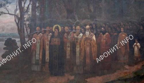 Преподобный Антоний Печерский. Фреска Киево-Печерской Лавры