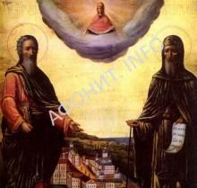 Апостол Андрей Первозванный и прп. Антоний Печерский, афонская икона