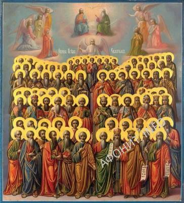 Икона всех афонских святых. Русско-афонский стиль. Иконописная мастерская Руссика. Конец XIX в.