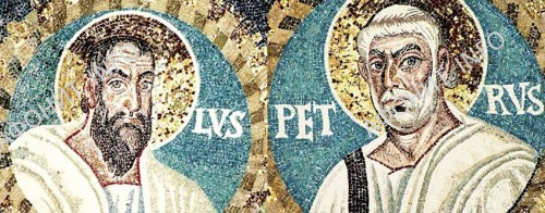 Первоверховные апостолы Петр и Павел. Мозаика базилики Сан Витале в Равенне. 546–548 г. Италия.
