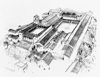 Бенедектинский монастырь на горе Монте-Кассино близ Неаполя, основанный св. Венедиктом. Аббатство Монтекассино. Ок. 1075 г.