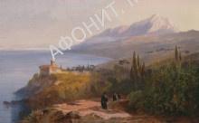 Картина Эдварда Лира, монастырь Ставроникита на Афоне, 1856