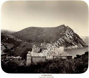 Монастырь Эсфигмен, вид на Самарийскую гору, XIX в.