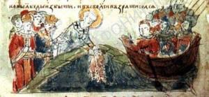 Патриарх Фотий погружает в море Ризу Божией Матери при осаде Константинополя князем Аскольдом Киевским