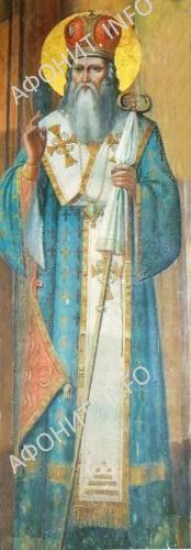 Свт. Григорий Палама, фреска из Пантелеимонова монастыря на Афоне