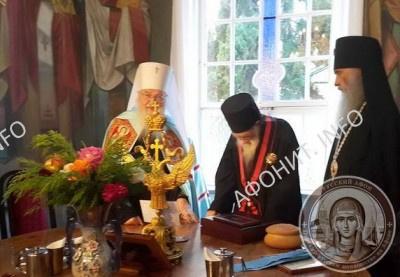 Митрополит Евлогий от имени Патриарха Кирилла вручил архимандриту Иеремии орден равноапостольного князя Владимира