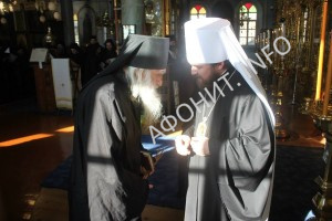 Митрополит Иларион (Алфеев) и Игумен Афонского Пантелеимонова монастыря схиархимандрит Иеремия