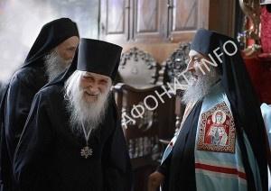 Игумен Иеремия Алехин и Митрополит Онуфрий на Афоне в Пантелеимоновом монастыре