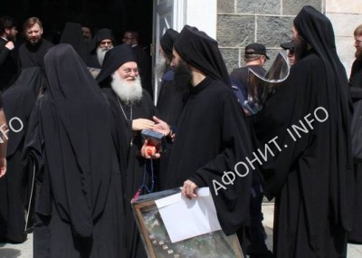 Афонские игумены в Пантелеимоновом монастыре