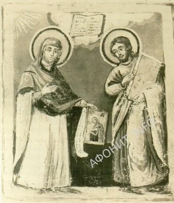 Пресвятая Богородица, благословляющая написанный апостолом Лукой образ