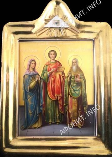 Икона святых Пантелеимона, Еввулы и Ермолая в Афонском Свято-Пантелеимоновом монастыре