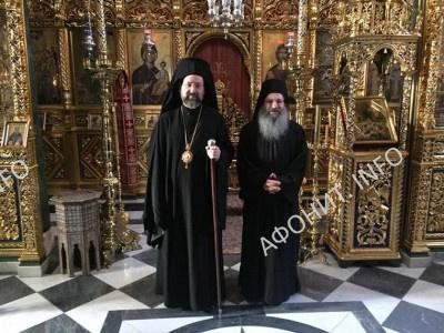 Архиепископ Телмисский Иов (Геча) в афонском монастыре Симонопетра с игуменом Елисеем