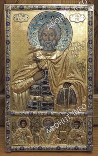 Чудотворная икона влмч.Мины.  Церковь симонопетрской келии Святого Мины в Карее. Афон