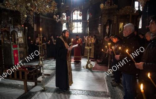 Отпевание духовника монастыря Хиландар на Афоне иеросхимонаха Кирилла (Вешковац), 7 февраля 2018 г.