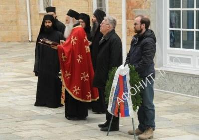 На Афоне почтили память русских дипломатов, захороненных в Пантелеимоновом монастыре