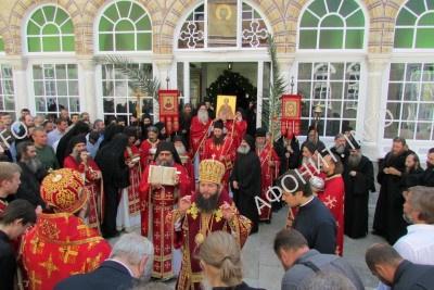 Крестный ход на Панигире в Русском на Афоне Свято-Пантелеимоновом монастыре
