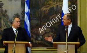 министры иностранных дел Российской Федерации и Греции Сергей Лавров и Никос Кодзиас