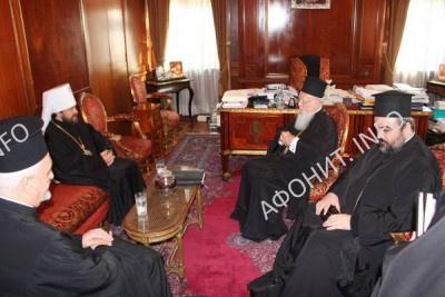 Константинопольский Патриарх Варфоломей и глава ОВЦС МП митрополит Иларион