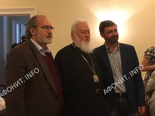 Алексей Лидов, Митрополит Каллист Уэр и Сергей Шумило, Оксфорд, 8 июня 2017 г.