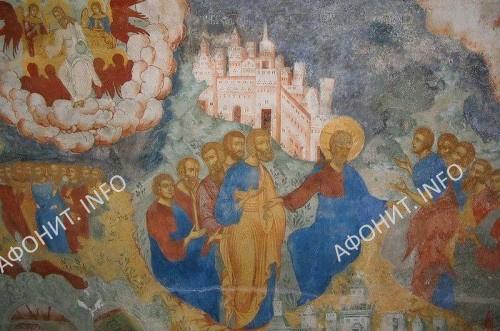 Нагорная проповедь. Фрагмент росписи в церкви Усекновения главы Иоанна Предтечи в Толчкове. Ярославль