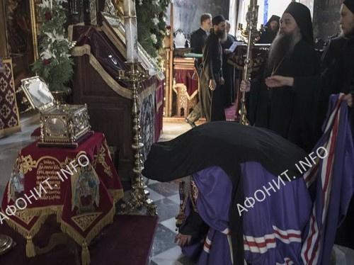 Игумен афонского болгарского монастыря Зограф архимандрит Амвросий на панигире в Пантелеимоновом монастыре, 8 августа 2017 г.