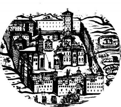 Русский Пантелеимонов монастырь на Афоне, гравюра 1836 г.