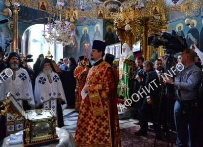 Патриарх Кирилл в Пантелеимоновом монастыре