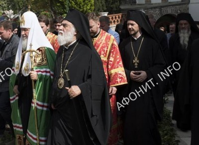 Московский ПатриархКирилл  прибыл в Пантелеимонов монастырь на Афоне