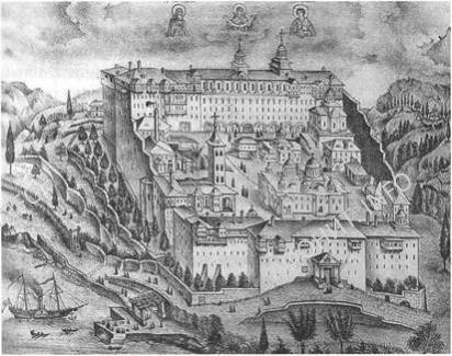 Вид Русского монастыря Св. великомученика Пантелеймона на Святой горе Афонской.  Греч, гравюра начала XIX в.
