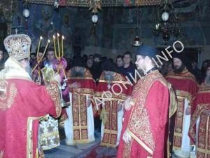 Митрополит Патрский Хризостом (Склифас) в главном храме Протата на Афоне на праздник иконы Божией Матери «Достойно есть» («Аксион Эстин»)
