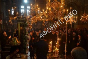 В главном храме Протата на Афоне на праздник иконы Божией Матери «Достойно есть» («Аксион Эстин»)