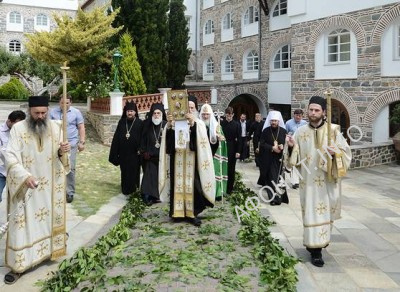 Патриарх Кирилл в Русском на Афоне Пантелеимоновом монастыре, 2013 г.