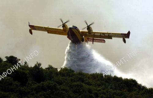Крупный пожар неподалеку от афонского монастыря Хиландар