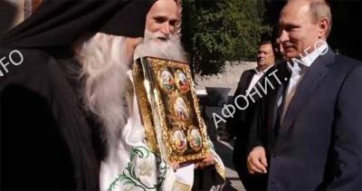 Президент России В. Путин и игумен Пантелеимонова монастыря о. Иеремия
