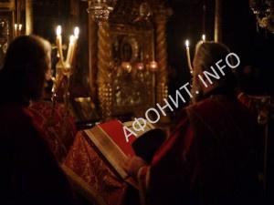 Служба в Русском на Афоне Свято-Пантелеимоновом монастыре