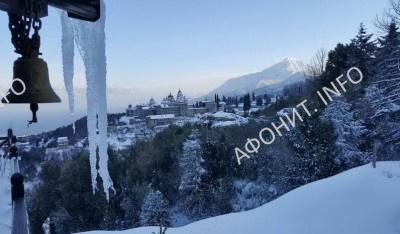 Андреевский скит на Афоне в снегу