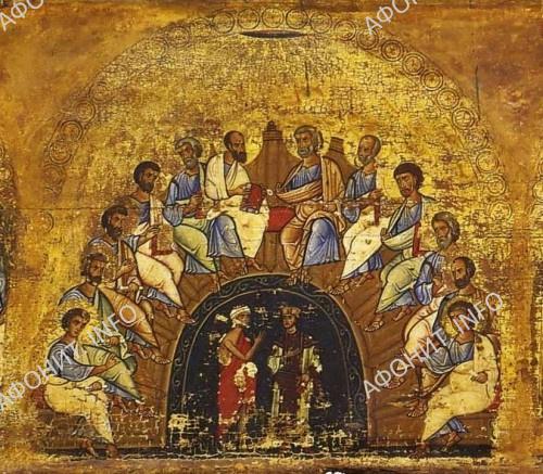 Сошествие Святого Духа. Фрагмент эпистилия. Вторая половина XIIв. Синай