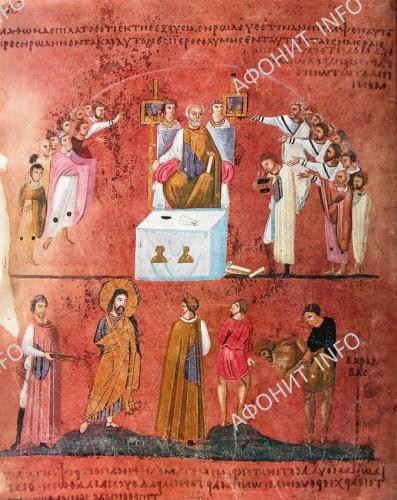 Иудеи требуют смерти Христу: «Да будет распят!». VI в. Миниатюра Евангелия из Россано. Музей в Россано, Италия