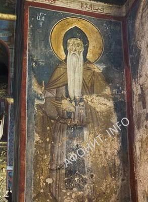Фреска прп. Симеона Мироточивого в Хиландарском монастыре на Афоне