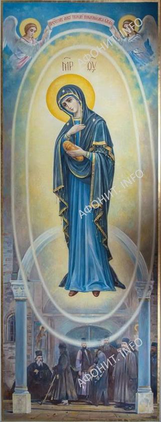 Фреска Светописанный образ Божией Матери. Росписи Василия Нестеренко в соборе Старого Русика на Афоне