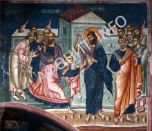 Уверение ап. Фомы. Фреска XIV в. в алтаре церкви Богоматери Одигитрии, Печская Патриархия, Косово