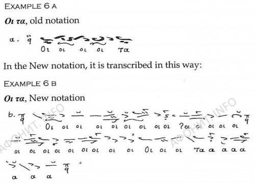 Пример, в котором показана мелодическая фраза в старой нотации (сверху) и ее переложение в новой нотации (снизу)