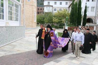 Митрополит Владимир (Сабодан) в Пантелеимоновом монастыре на Афоне
