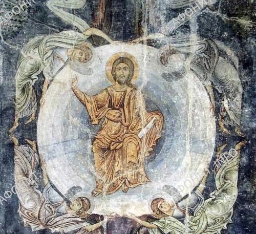 Вознесение Господне. Середина XI в. Фреска церкви Святой Софии в Охриде