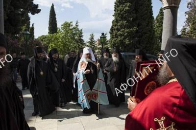 Встреча делегации РПЦ в Русском на Афоне Пантелеимоновом монастыре, 8 августа 2016 г.