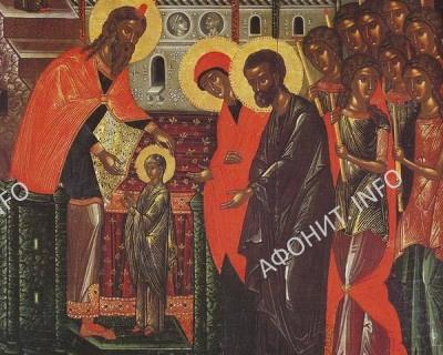 Введение во храм Пресвятой Богородицы. Фреска в монастіре Хиландарь на Афоне
