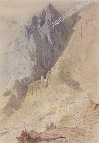 Картина Эдварда Лира, монастырь Агиа Павла на Афоне, 1856
