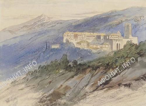 Картина Эдварда Лира, монастырь Констамонит на Афоне (лот 122), 1856